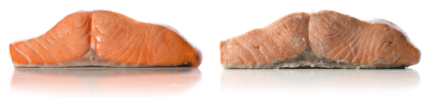 Sous vide salmon [left] vs. traditionally cooked salmon [right]